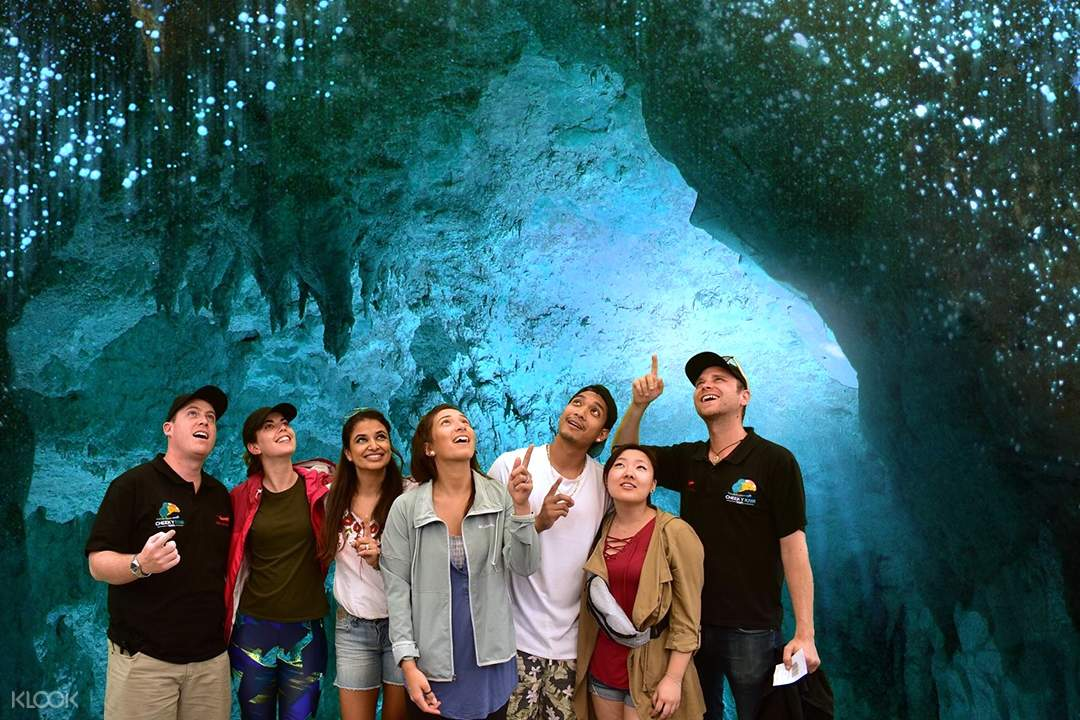 Guests posing for a photo inside the Waitomo Caves